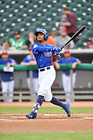 Tennessee Smokies left fielder Charcer Burks (3) swings at a pitch during a game against the Pensacola Blue Wahoos at Smokies Stadium on August 30, 2018 in Kodak, Tennessee. The Blue Wahoos defeated the Smokies 5-1. (Tony Farlow/Four Seam Images)