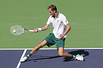 No. 1 seed Daniil Medvedev (RUS) is defeated by Grigor Dimitrov (BUL) in 3 sets, 6-4, 4-6, 3-6, at the BNP Paribas Open being played at Indian Wells Tennis Garden in Indian Wells, California on October 13,2021: ©Karla Kinne/Tennisclix/CSM