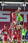 Scarlets flanker Aaron Shingler beats his opposite number Dave O'Callaghan to the lineout ball.<br /> Guiness Pro12<br /> Scarlets v Munster<br /> 21.02.15<br /> ©Steve Pope -SPORTINGWALES