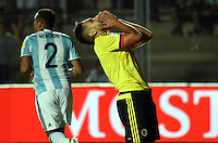 SAN JUAN- ARGENTINA-15-11-2016: Radamel Falcao Garcia jugador de Colombia, reacciona al perder oportunidad de gol a Argentina, durante partido entre los seleccionados de Argentina y Colombia por la fecha 12 válido por la clasificación a la Copa Mundo FIFA Rusia 2018, jugado en el Estadio San Juan del Bicentenario de la ciudad de San Juan. /  Radamel Falcao Garcia, player of Colombia reacts after missing a goal to Argentina, during match between Argentina and Colombia for the date 12 valid for the  FIFA World Cup Russia 2018, Qualifier played at San Juan del Bicentenario Stadium in San Juan city. Photo: VizzorImage / Mario Garcia /Photogamma / Cont.