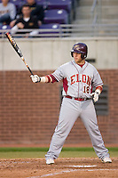 Ryan Adams #18 of the Elon Phoenix at bat versus the East Carolina Pirates at Clark-LeClair Stadium March 29, 2009 in Greenville, North Carolina. (Photo by Brian Westerholt / Four Seam Images)
