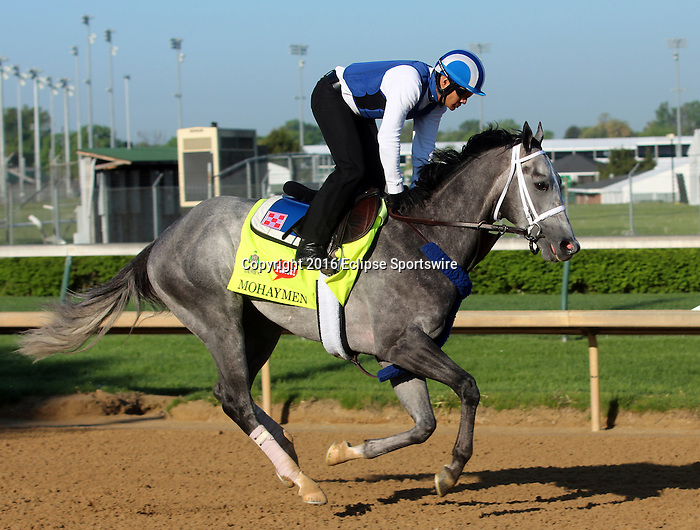 LOUISVILLE, KY - APRIL 24: Mohaymen (Tapit x Justwhistledixie, by Dixie Union) gallops on track with exercise rider Miguel Jaime, Churchill Downs, Louisville KY, preparing for the Kentucky Derby. Owner Shadwell Stable, trainer Kieran McLaughlin. (Photo by Mary M. Meek/Eclipse Sportswire/Getty Images)