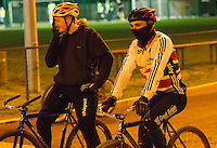 31 MAR 2015 - IPSWICH, GBR - Ashley Hill (right) waits beside Dan Knights (left) to start the next drill during an Ipswich Cycle Speedway Club training session at Whitton Sports and Community Centre in Ipswich, Great Britain (PHOTO COPYRIGHT © 2015 NIGEL FARROW, ALL RIGHTS RESERVED)