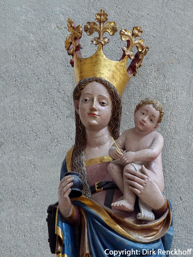Tintenfass-Madonna von 1430 im Mariendom, Hildesheim, Niedersachsen, Deutschland, Europa, UNESCO Weltkulturerbe<br /> Inkpot Madonna from 1430, Cathedral of St. Mary Hildesheim, Lower Saxony, Germany, Europe, UNESCO Heritage Site