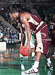 University of Louisiana at Monroe Warhawks forward Tommie Sykes (13) in action during the NCAA  basketball game between the University of Louisiana at Monroe Warhawks and the University of North Texas Mean Green at the North Texas Coliseum,the Super Pit, in Denton, Texas. ULM defeated UNT 82 to 75...