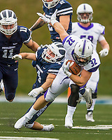 8 October 2016: Amherst College Purple & White Running Back Jack Hickey, a Sophomore from Melrose, MA, is chased down by Middlebury College Panther Defensive Back Kevin Hopsicker, a Junior from Delmar, NY, at Alumni Stadium in Middlebury, Vermont. The Panthers edged out the Purple & While 27-26. Mandatory Credit: Ed Wolfstein Photo *** RAW (NEF) Image File Available ***