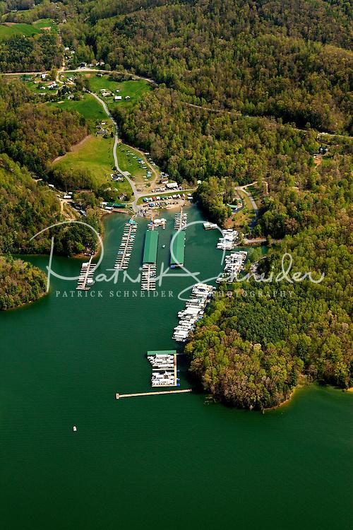 Aerial photography of and around Watauga Lake, Tenn., taken April 2011. Photo shows Fish Springs Marina.