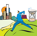 Businessman running with an hourglass
