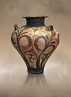 Three handled Palace Style  Mycenaean amphora with palm tree floral motifs, Mycenaean cemetery, Argive Deiras, 15 cnt BC, National Archaeological Museum Athens. Cat no 7107. <br /> <br /> This Mycenaean vase is distinguished by the high quality of clay and paint as well as the naturalistic rendition of the palm tree decorations