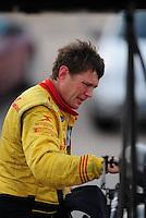 Nov. 1, 2008; Las Vegas, NV, USA: NHRA top fuel dragster driver David Grubnic during qualifying for the Las Vegas Nationals at The Strip in Las Vegas. Mandatory Credit: Mark J. Rebilas-