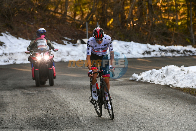 Maglia Bianca Tadej Pogacar (SLO) UAE Team Emirates attacks on the final climb during Stage 4 of Tirreno-Adriatico Eolo 2021, running 148km from Terni to Prati di Tivo, Italy. 13th March 2021. <br /> Photo: LaPresse/Marco Alpozzi | Cyclefile<br /> <br /> All photos usage must carry mandatory copyright credit (© Cyclefile | LaPresse/Marco Alpozzi)