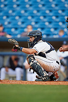 Lake County Captains catcher Jonathan Laureano (23) waits to receive a pitch during the first game of a doubleheader against the South Bend Cubs on May 16, 2018 at Classic Park in Eastlake, Ohio.  South Bend defeated Lake County 6-4 in twelve innings.  (Mike Janes/Four Seam Images)