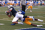Nevada's Jarred Gipson drops a pass in the end zone under pressure from San Jose State's Vincente Miles, Jr. in an NCAA college football game in Reno, Nev., on Saturday, Nov. 14, 2015. Nevada won 37-34 in overtime. (AP Photo/Cathleen Allison)