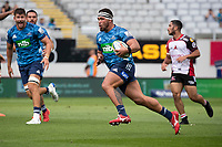 March 14th 2020, Eden Park, Auckland, New Zealand;  Blues prop Ezekiel Lindenmuth in an opne field run during the Super Rugby match between the Blues and the Lions, held at Eden Park, Auckland, New Zealand.