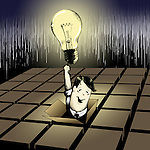 Man emerging from a box with a light bulb