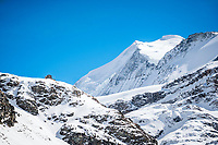 The Turtmann Hut sits below the north side of the Bishorn, 4153 meters. Switzerland