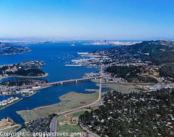 aerial photograph of Sausalito to San Francisco, Marin County, California
