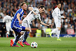 Real Madrid´s Gareth Bale and Schakle 04 Howedes during Champions League soccer match at Santiago Bernabeu stadium in Madrid, Spain. March, 10, 2015. (ALTERPHOTOS/Caro Marin)