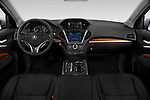 Stock photo of straight dashboard view of a 2018 Acura MDX Sport Hybrid Advance Package 5 Door SUV