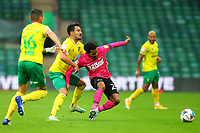 3rd October 2020; Carrow Road, Norwich, Norfolk, England, English Football League Championship Football, Norwich versus Derby; Duane Holmes of Derby County pulled back on the ball by Lukas Rupp of Norwich City