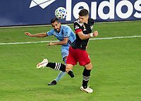 WASHINGTON, DC - SEPTEMBER 06: Maximiliano Moralez #10 of New York City FC has his cross blocked by Joseph Mora #28 of D.C. United during a game between New York City FC and D.C. United at Audi Field on September 06, 2020 in Washington, DC.