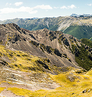 Alpine colours and textures of St. Arnaud Range, Nelson Lake National Park, South Island, New Zealand, NZ