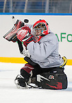 Sochi, RUSSIA - Mar 2 2014 -  Corbin Watson stops a shot during practice before the 2014 Paralympics in Sochi, Russia.  (Photo: Matthew Murnaghan/Canadian Paralympic Committee)