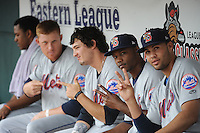 Binghamton Mets outfielder Cory Vaughn (25), Alonzo Harris (1), Darrell Ceciliani (8), and Joe Bonfe (20) during game against the New Britain Rock Cats at New Britain Stadium on May 23 2013 in New Britain, Connecticut.  New Britain defeated Binghamton 1-0.  Tomasso DeRosa/Four Seam Images