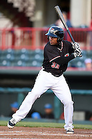 Erie SeaWolves second baseman Marcus Lemon (39) at bat during a game against the Akron RubberDucks on May 17, 2014 at Jerry Uht Park in Erie, Pennsylvania.  Erie defeated Akron 2-1.  (Mike Janes/Four Seam Images)