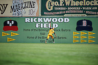 Jacksonville Suns outfielder Carlos Lopez (7) makes a catch in the outfield during the 20th Annual Rickwood Classic Game against the Birmingham Barons on May 27, 2015 at Rickwood Field in Birmingham, Alabama.  Jacksonville defeated Birmingham by the score of 8-2 at the countries oldest ballpark, Rickwood opened in 1910 and has been most notably the home of the Birmingham Barons of the Southern League and Birmingham Black Barons of the Negro League.  (Mike Janes/Four Seam Images)