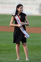 Wilmington Blue Rocks had Miss Wilmington throw out the first pitch during a game against the Lynchburg Hillcats at Frawley Stadium on May 3, 2011 in Wilmington, Delaware.  Lynchburg defeated Wilmington by the score of 11-1.  Photo By Mike Janes/Four Seam Images