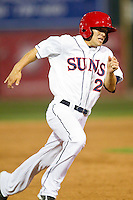 Wes Schill (2) of the Hagerstown Suns rounds third base during the South Atlantic League game against the Delmarva Shorebirds at Municipal Stadium on April 11, 2013 in Hagerstown, Maryland.  The Shorebirds defeated the Suns 7-4 in 10 innings.  (Brian Westerholt/Four Seam Images)