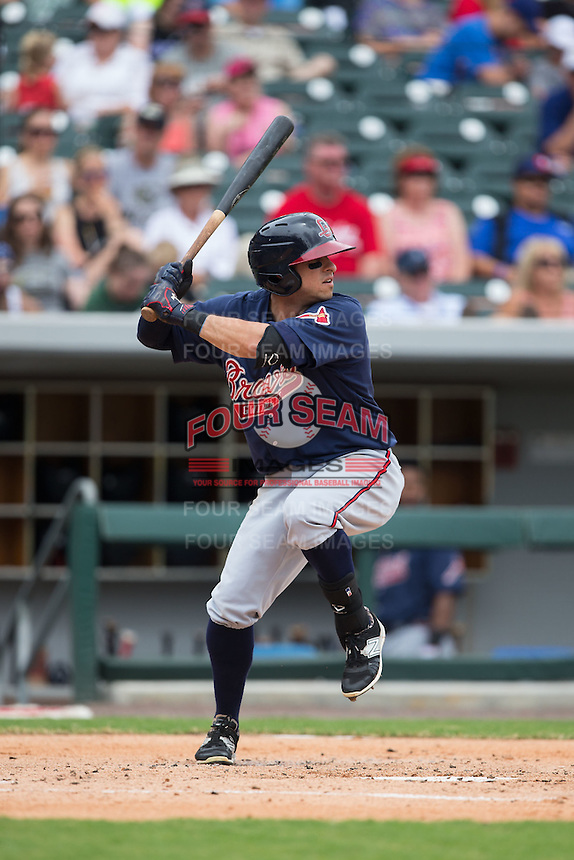 Sean Kazmar (9) of the Gwinnett Braves at bat against the Charlotte Knights at BB&T BallPark on July 3, 2015 in Charlotte, North Carolina.  The Braves defeated the Knights 11-4 in game one of a day-night double header.  (Brian Westerholt/Four Seam Images)
