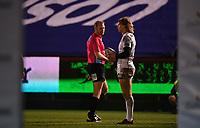 19th February 2021; Recreation Ground, Bath, Somerset, England; English Premiership Rugby, Bath versus Gloucester; Billy Twelvetrees of Gloucester talks to Referee Wayne Barnes between plays