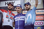 Julian Alaphilippe (FRA) Quick-Step Floors wins La Fleche Wallonne 2018 with Alejandro Valverde (ESP) Movistar Team in 2nd place and Jelle Vanendert (BEL) Lotto Soudal 3rd, running 198.5km from Seraing to Huy, Belgium. 18/04/2018.<br /> Picture: ASO/Thomas Maheux | Cyclefile.<br /> <br /> All photos usage must carry mandatory copyright credit (© Cyclefile | ASO/Thomas Maheux)