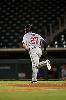Scottsdale Scorpions Joey Bart (27), of the San Francisco Giants organization, jogs toward first base after hitting his second home run of the game during an Arizona Fall League game against the Mesa Solar Sox on September 18, 2019 at Sloan Park in Mesa, Arizona. Scottsdale defeated Mesa 5-4. (Zachary Lucy/Four Seam Images)