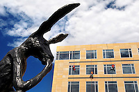 """The hare in Barry Flanagan's """"Thinker on a Rock"""" appears to ponder a trio of window washers scaling Wellmark Blue Cross/Blue Shield's new headquarters building across from the Pappajohn Sculpture Park August 24, 2010 in downtown Des Moines, Iowa."""
