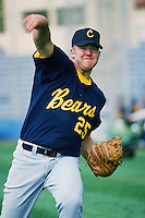 Ryan Drese of the Cal Bears throws before a 1996 NCAA baseball season game against the Pepperdine Waves at Eddy D. Field Stadium in Malibu, California. (Larry Goren/Four Seam Images)