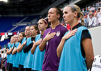 Heather Mitts, Jill Loyden, Alex Morgan, Tobin Heath, bench. The USWNT defeated Mexico, 1-0, during the game at Red Bull Arena in Harrison, NJ.
