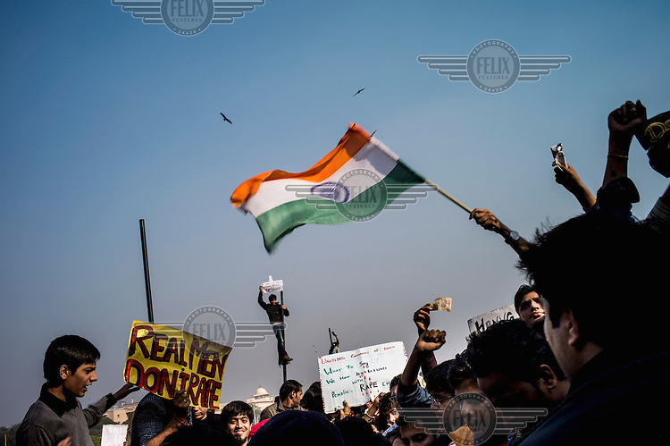 Students protest, in Raisina Hill, the area of Dehli that houses many government buildings, following the brutal gang rape of a young woman who, along with a male friend, were attacked on a bus in south Delhi on 16 December 2012. She died of her injuries two weeks later.