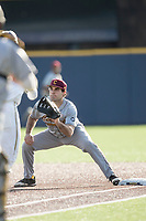 Central Michigan Chippewas first baseman Nick Stokowski (15) waits for a throw at first base against the Michigan Wolverines on May 9, 2017 at Ray Fisher Stadium in Ann Arbor, Michigan. Michigan defeated Central Michigan 4-2. (Andrew Woolley/Four Seam Images)