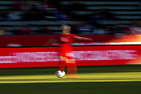 CARSON, CA - FEBRUARY 07: Sophie Schmidt #13 of Canada moves with the ball during a game between Canada and Costa Rica at Dignity Health Sports Park on February 07, 2020 in Carson, California.
