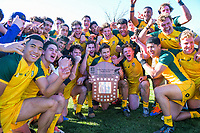 Australia players celebrate winning the rugby union match between New Zealand Schools and Australia Under-18s at St Paul's Collegiate in Hamilton, New Zealand on Friday, 4 October 2019. Photo: Dave Lintott / lintottphoto.co.nz