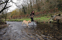 FAO JANET TOMLINSON, DAILY MAIL PICTURE DESK<br />Pictured: Sian Richards with a dog in the stream Wednesday 23 November 2016<br />Re: The Dog House in the village of Talog, Carmarthenshire, Wales, UK