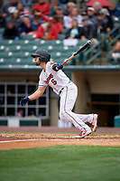 Rochester Red Wings Drew Maggi (5) at bat during an International League game against the Charlotte Knights on June 16, 2019 at Frontier Field in Rochester, New York.  Rochester defeated Charlotte 3-2 in the second game of a doubleheader.  (Mike Janes/Four Seam Images)