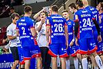 Ansage ans Team: Jens Buerkle (Trainer HBW Balingen) ; BGV Handball Cup 2020 Halbfinaltag: TVB Stuttgart vs. HBW Balingen-Weilstetten am 11.09.2020 in Ludwigsburg (MHPArena), Baden-Wuerttemberg, Deutschland<br /> <br /> Foto © PIX-Sportfotos *** Foto ist honorarpflichtig! *** Auf Anfrage in hoeherer Qualitaet/Aufloesung. Belegexemplar erbeten. Veroeffentlichung ausschliesslich fuer journalistisch-publizistische Zwecke. For editorial use only.