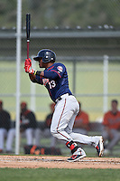 Minnesota Twins Brian Navarreto (13) during a minor league spring training game against the Baltimore Orioles on March 28, 2015 at the Buck O'Neil Complex in Sarasota, Florida.  (Mike Janes/Four Seam Images)