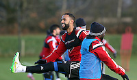 Pictured L-R: Kyle Bartley and Marvin Emnes  Wednesday 10 December 2014<br />