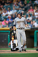 Eric Campbell (24) of the New Orleans Baby Cakes bats against the Salt Lake Bees at Smith's Ballpark on June 8, 2018 in Salt Lake City, Utah. Salt Lake defeated New Orleans 4-0.  (Stephen Smith/Four Seam Images)