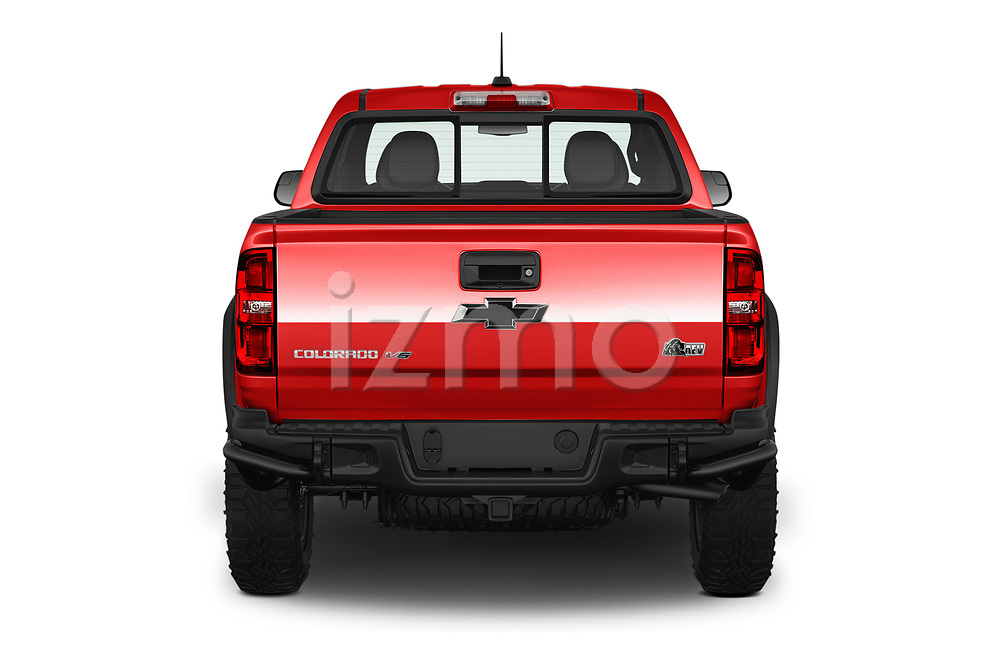 Straight rear view of a 2019 Chevrolet Colorado ZR2 4 Door Pick Up stock images